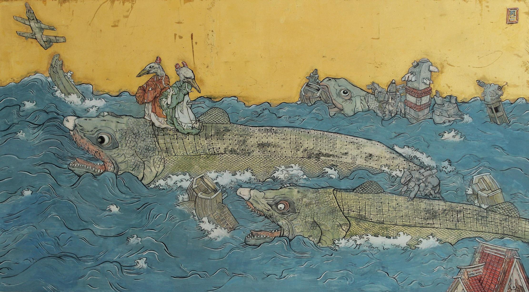 ΚΩΝΣΤΑΝΤΙΝΟΣ ΠΑΠΑΜΙΧΑΛΟΠΟΥΛΟΣ 1, Ψάρια στη θάλασσα, 2006-2016, μελάνι, αυγοτέμπερα και φύλλα χρυσού σε ξύλο